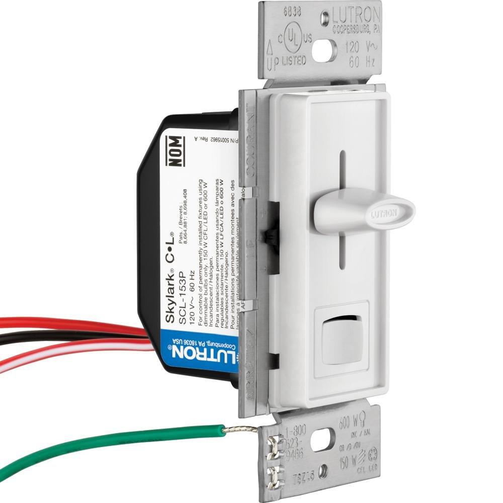 Lutron Skylark 150 Watt Single Pole 3 Way Preset Cfl Led Dimmer Scl Light Bulb Switch 153pr Wh Tools Home Improvement
