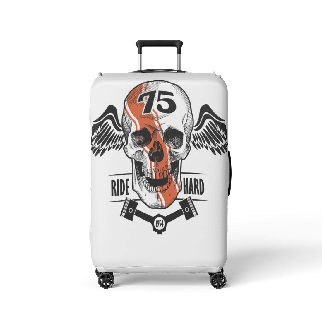 dc2feeafc57e Amazon.com: Semtomn Luggage Cover Cool Racer Smiling Skull Wings ...