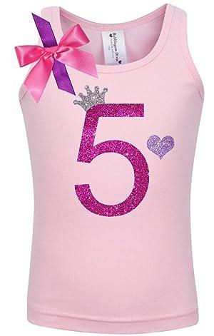 Bubblegum Divas Little Girls 5th Birthday Pink Princess Shirt 6X