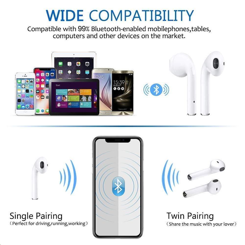 Bluetooth Kopfh/örer f/ür Apple Airpod Android iPhone in Ear Bluetooth 5.0 Headset 3D Stereo-Minikopfh/örer Sport Kabellose Kopfh/örer mit Portable Mini Ladek/ästchen