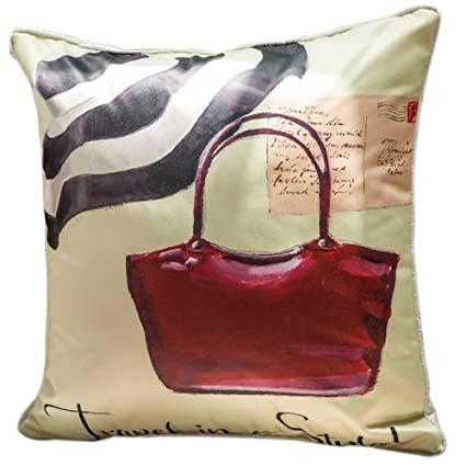 Buy ChezMax Faux Silk Blend Womens Red Handbag Print Sofa Seat Cushion  Cotton Square Decorative Throw Pillow Cushion 18 X 18   Online at Low  Prices in India ... 9275ef94e1