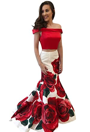VinBridal Off The Shoulder Floral Print Two Piece Mermaid Prom Dresses Red 2