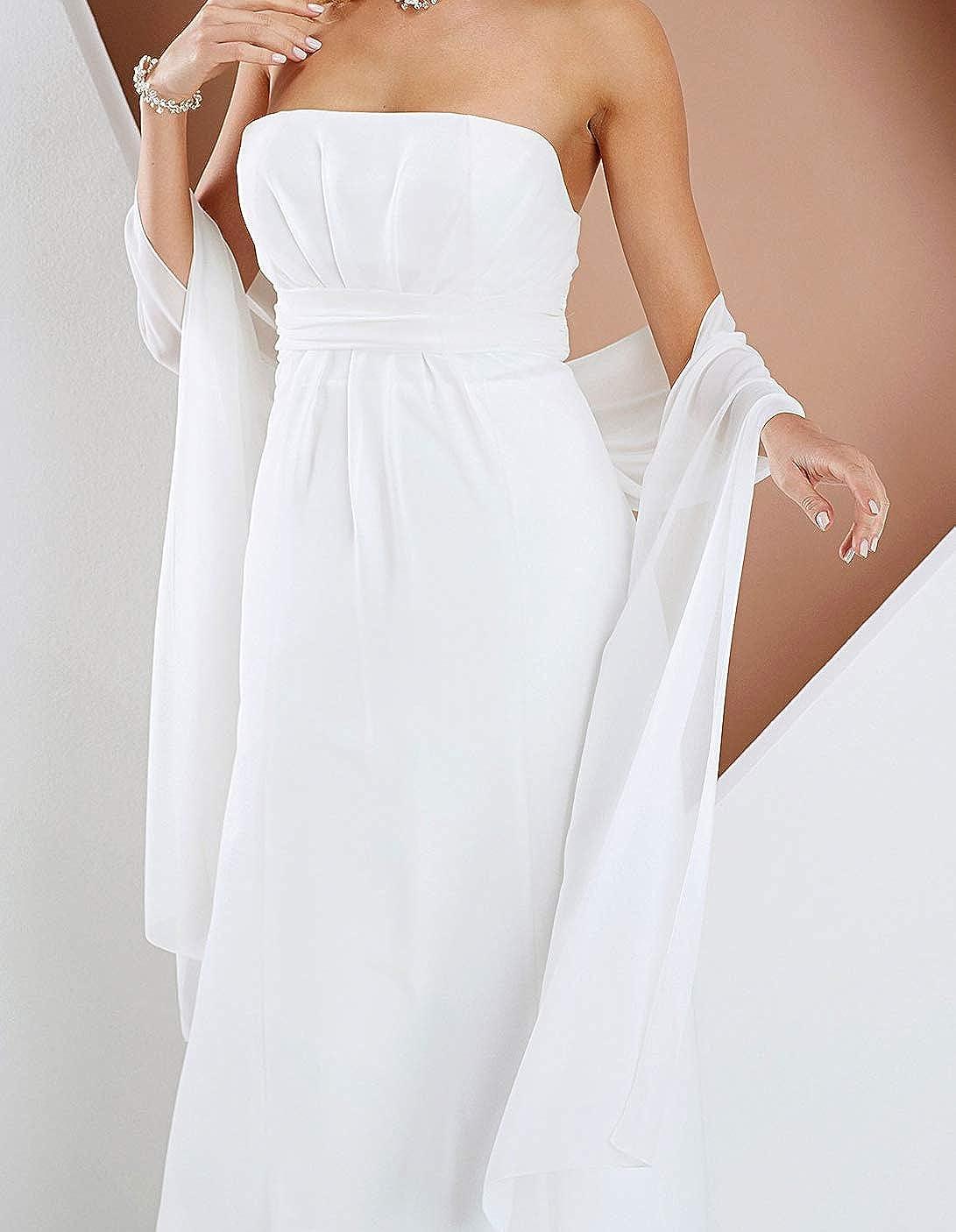 230 cm x 50 cm Hochzeit Abendkleid Abiballkleid Brautstola perfekt zum Brautkleid IVORY Festliche Chiffonstola Abendstola WEI/ß Elegant Klassisch Chiffon Stola Chiffonschal SCHWARZ