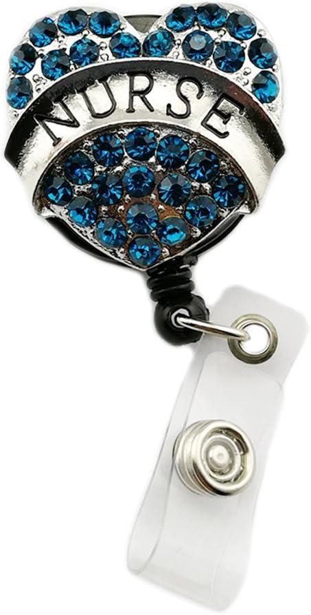 Blue Rhinestone Heart Retractable Badge Reel//ID Badge Holder with Clip