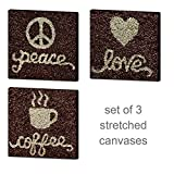 Coffee Bean Wall Canvas Collection Set of 3 Ready To Hang Peace Love Coffee
