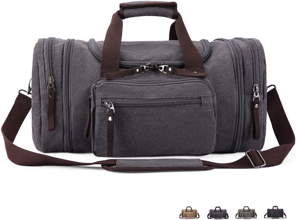 FLEXIPAGE Oversized Airplane Travel Duffle Bag Vintage Canvas Gym Tote Carry-on Overnight Weekend Shoulder Bags for Women Men Gray