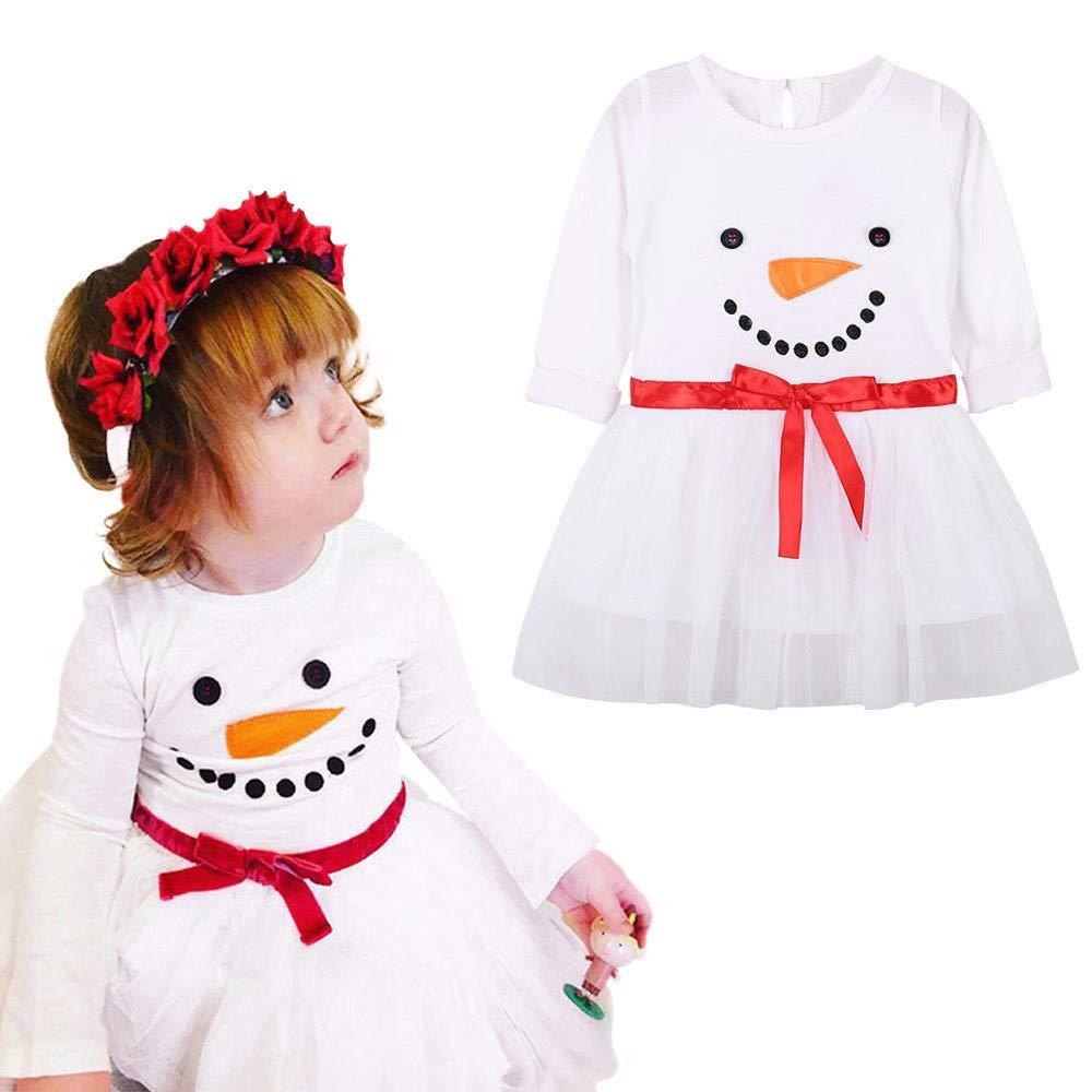 Girls Dress Binmer Kids Christmas Snowman Print Long Sleeves Cotton Tutu Dress Binmer_baby clothes Kangdanielkda-0450