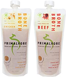 Primalvore Organic Bone Broth Food Topper for Dogs & Cats | Collagen Peptides for Improved Joint Health and Mobility | Human Grade | Made in The USA | Beef & Chicken Variety Pack