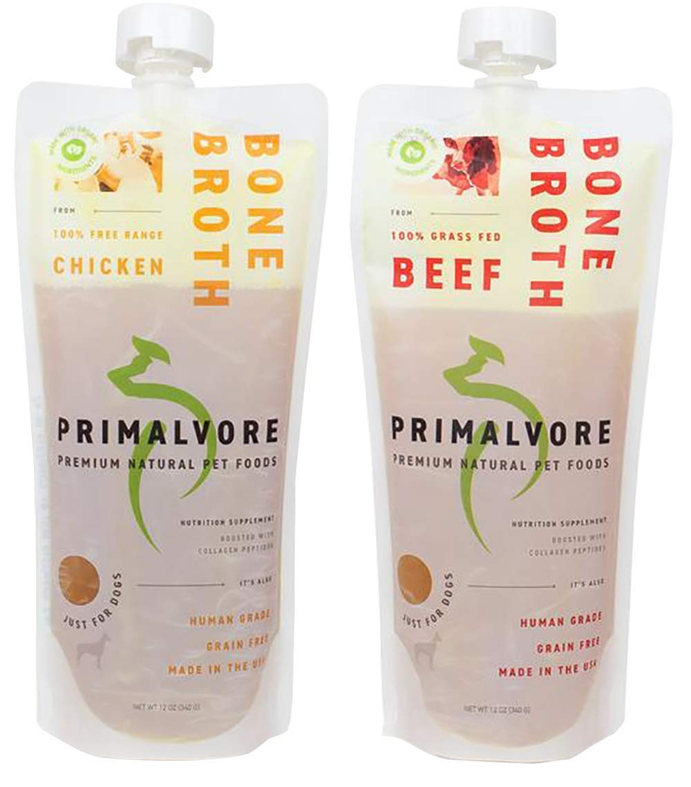 PRIMALVORE Premium Natural Pet Foods Chicken & Beef Bone Broth Variety Pack, Just For Dogs, Grain Free, Nutrition Supplement, With Collagen Peptides, Pack of 2