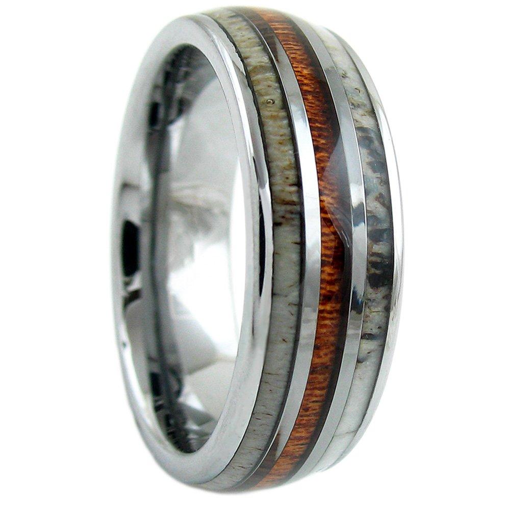 Magnificent Silver 6mm/8mm Tungsten Carbide Dome Ring w/Koa Wood Between 2 Beautiful Deer Antler Inlays. (tungsten (8mm), 13)