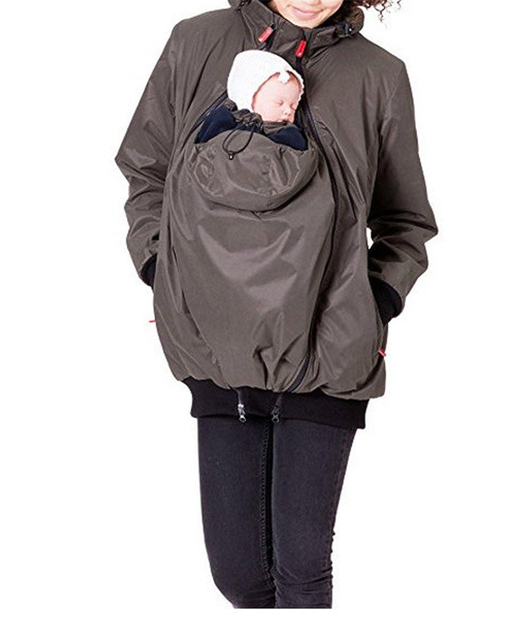 Moxeay Unisex Hoodie Maternity Outerwear Coat Kangaroo Jacket Baby Carrier
