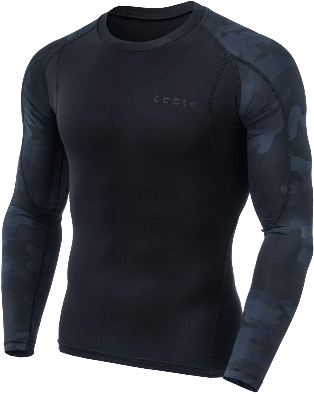 TM-MUD11-SMK_2X-Large Tesla Men's Long Sleeve T-Shirt Baselayer Cool Dry Compression Top MUD11