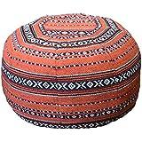 Morocco pouf モロッコ プフ 中綿入り 布タイプ オレンジ横柄
