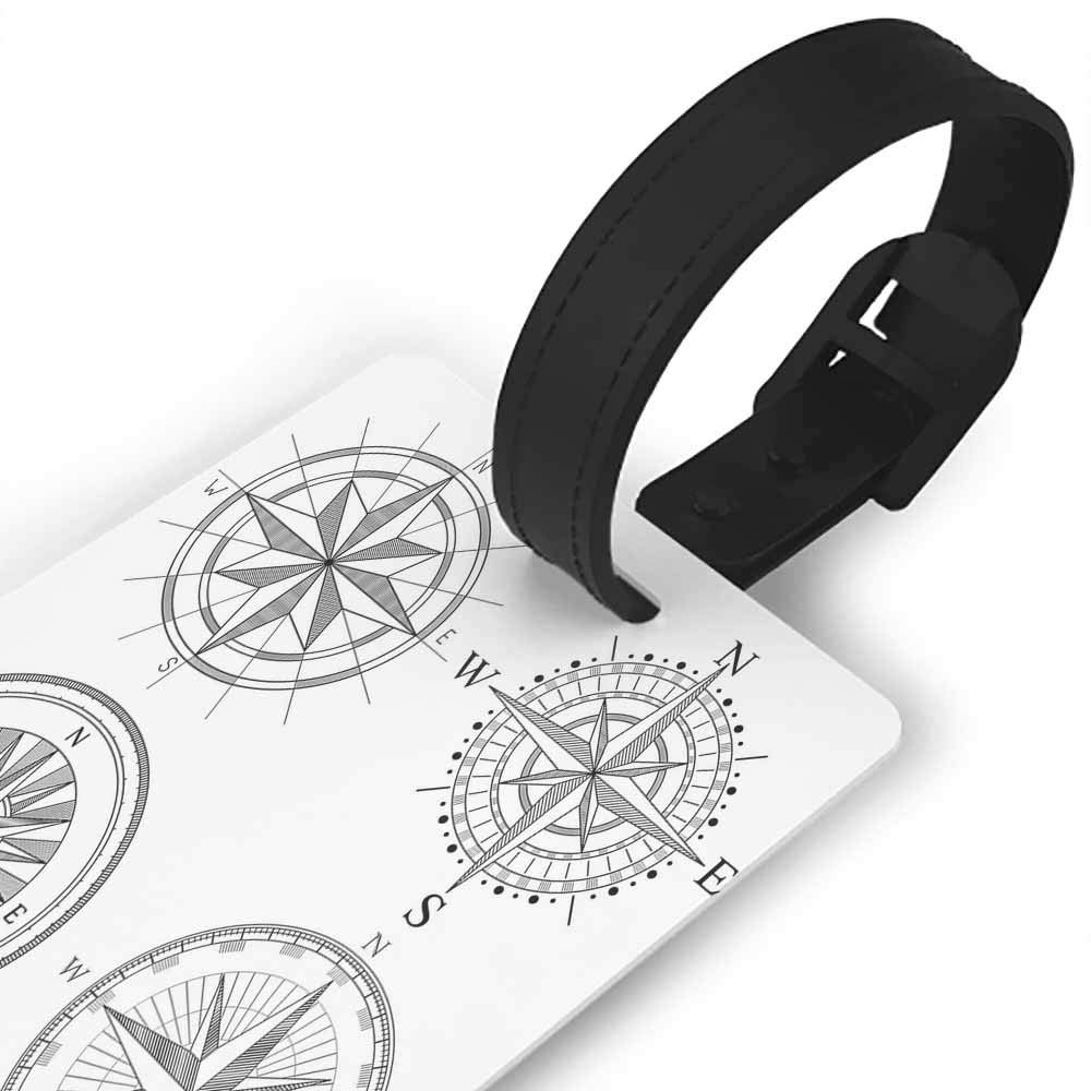 Luggage Tags with Privacy Cover,Compass,Various Nautical Icons with Seagulls Anchor Sailor Knot and Helm Sailor Theme,Portable Label Mint Green Blue