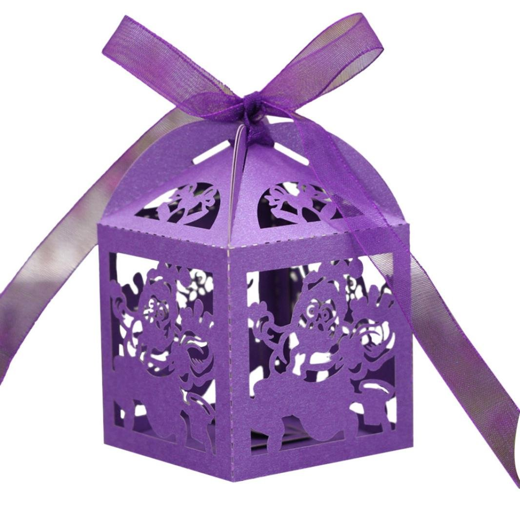 Binmer(TM)50pc Hollow Out Candy Box Bridal Shower Party Wedding Gift Wrap Paper (Purple)