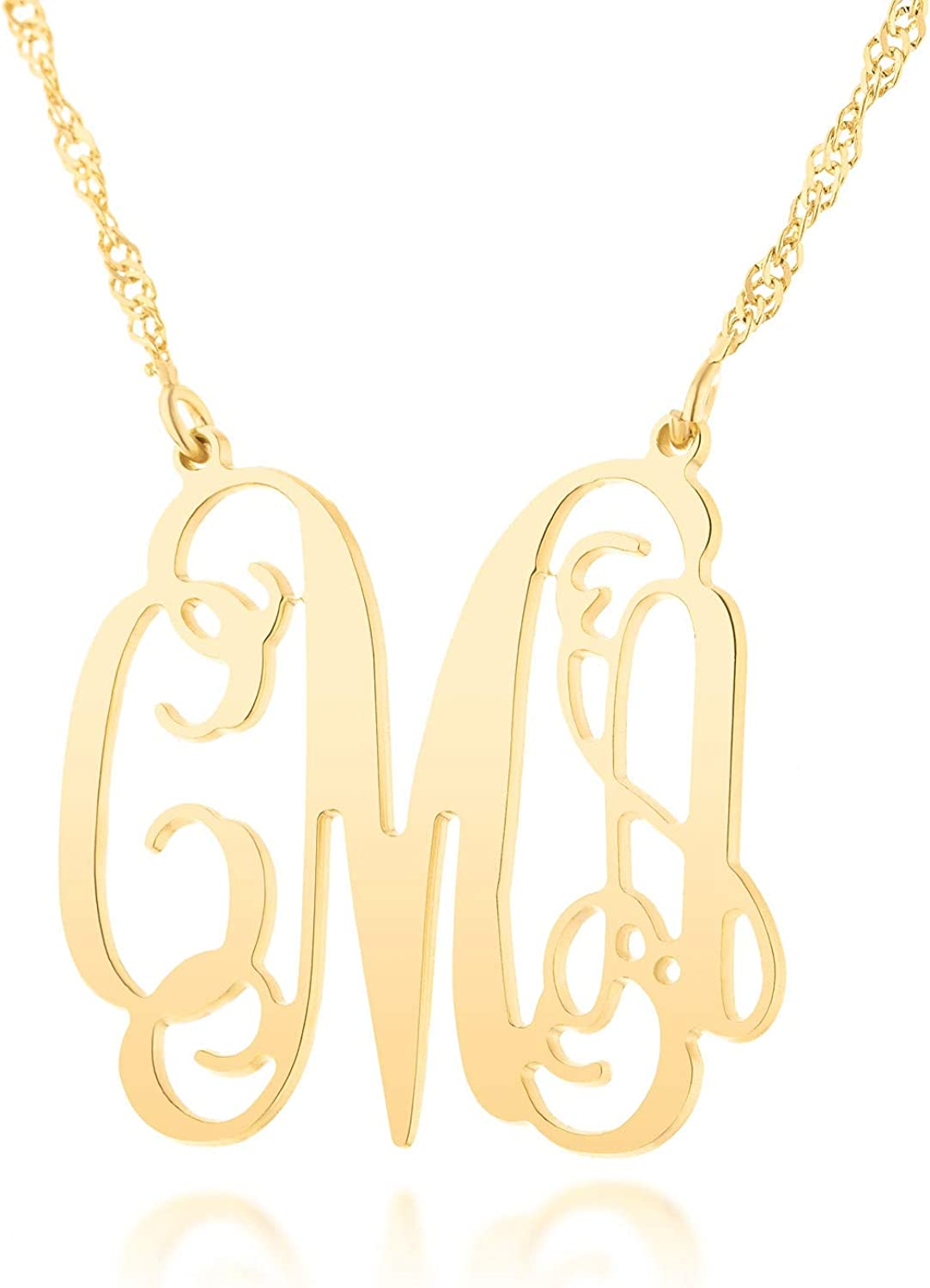 Personalized Name Necklace Gift for her Fresh Jewelry 18k Gold Plated Monogram Name Necklace