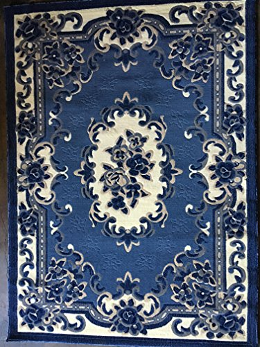 - Americana Traditional Area Rug Blue Persian Aubusson Design #102 (5 feet 3 inches X 7 feet 2 inches)