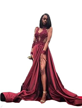 Mathena Womens Lace Appliques Long Sleeve Prom Dress Spit Side Homecoming Gowns US 2 Burgundy