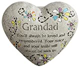 "Cheap ""Grandad"" Engraved Painted Heart Grandfather Grandpa Memorial Garden Stone, Cement Construction, 6""L x 6""W x 3""H"