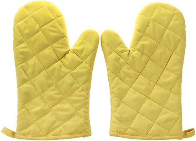 WOVELOT 1 Paire Resistant a la Chaleur en Coton Gants de Four Cuisine Cuisson moufles de Cuisson Jaunes