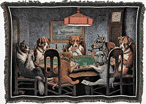 Pure Country Weavers - Dogs Playing Poker Woven Tapestry Throw Blanket with Fringe Cotton USA Size 72 x 54 (Tapestry Throw Blanket Dog Afghan)