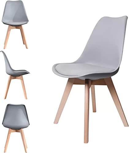 Retro Mid Century Modern Dining Chair Upholstered Side Chair Durable PU Cushion