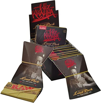 Wiz Khalifa Raw Classic Rolling Papers 1 1//4 Tray Paper Tips 32-3 Packs Loud