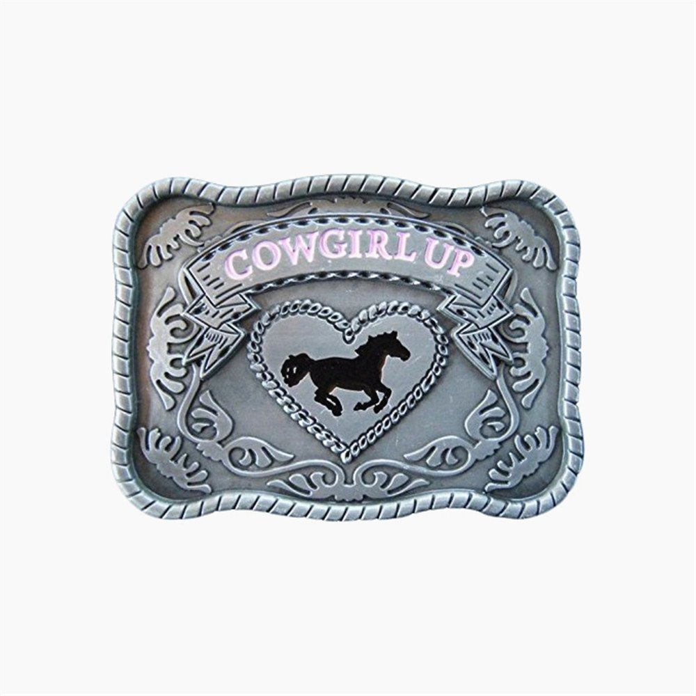 Cowgirl Up horse Belt Buckle changsheng