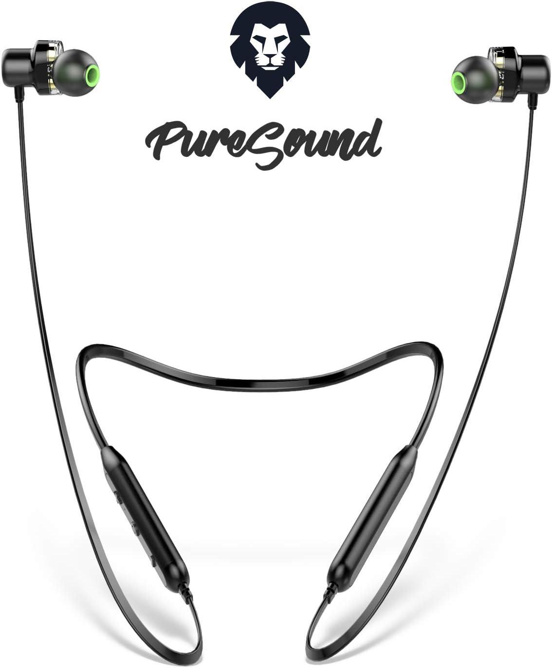 Auriculares Bluetooth Deportivos Encore Pure Sound, Marca Europea, Auriculares inalambricos Bluetooth 10h Sonido estéreo con Dual Driver, Cascos Bluetooth para Smartphone, Tablet, pc iOS y Android