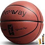 Tereway Basketball Indoor/Outdoor Games Hygroscopic Leather Basketball Official Size 7-29.5'' with Pump, Needles and Basketball Net