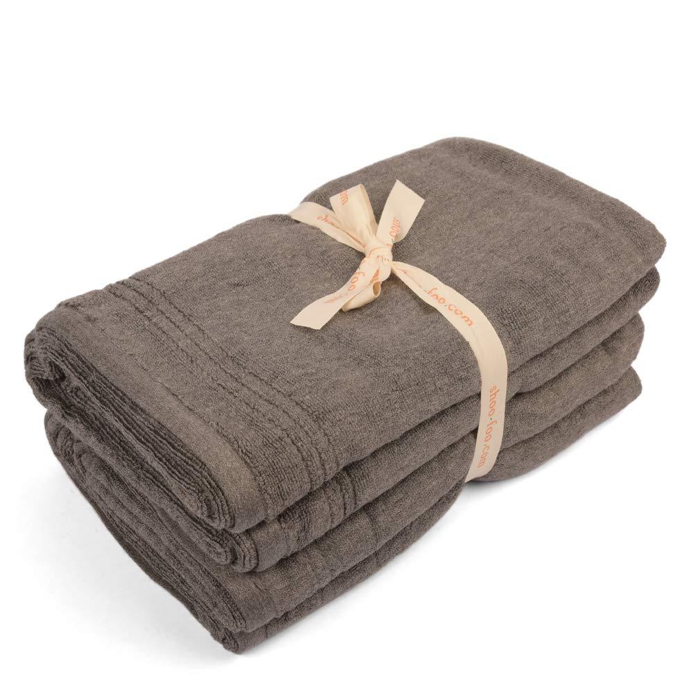 SHOO-FOO Organic Bamboo Charcoal Towels Sets   Soft   Absorbent   Odor Resistant   600 GSM (2 Bath Towels Set)