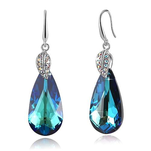 13f0928a5b01 Pendientes colgantes de mujer con cristales Swarovski® Drop Shape, pequeños  regalos de joyería para mamá hija grils, cumpleaños, aniversario, San ...