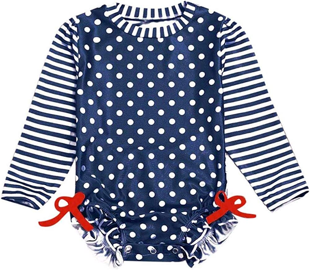 Zerototens Baby//Toddler Girls Long Sleeve Ruffled Dot Striped One Piece Swimsuit with UPF 50 Sun Protection,0-3 Years Old