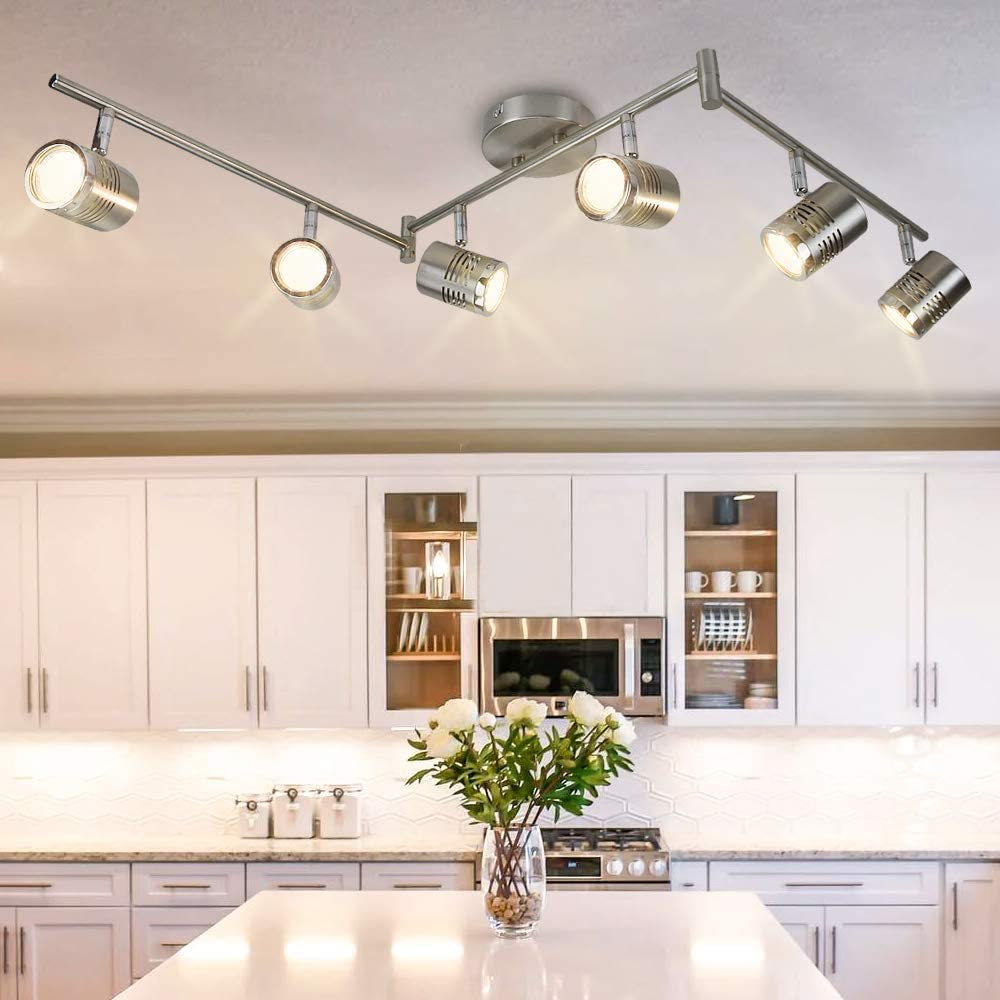 Dllt 6 Light Track Lighting Fixtures Swing Arm Kitchen Ceiling Spot Light Flush Mount Foldable Track Rail Lighting For Living Room Dining Room Offices Bedroom Picture Wall Kitchen Warm Light Pendants Amazon Canada