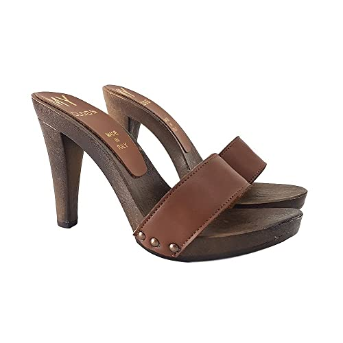 8a0d0b38938122 kiara shoes Women's Clocks in Brown Leather Heel 11CM - MY50 Cuoio ...