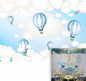 Allenjoy 7x5ft Hot Air Balloon Backdrop Kids Birthday Party Blue Sky and White Clouds Boy Baby Shower Newborn Photography Background Cake Dessert Table Decoration Banner Photo Studio Props