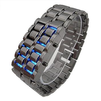 CursOnline Reloj Digital de Pulsera de LED Rojos o Azul Hombre Mujer niño Lava Iron Samurai Watch Pulsera: Amazon.es: Electrónica