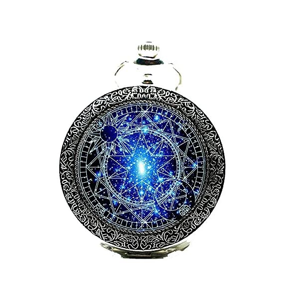 Stained Glass Bronze Pocket Watches-Steampunk Blue Magic Round Quartz Watch Chain,Gift for Him Her 4