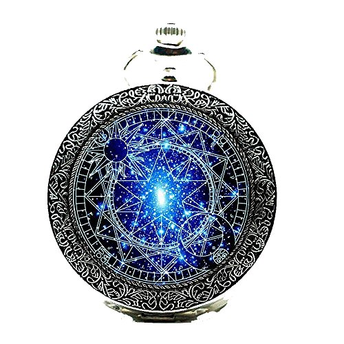 Stained Glass Bronze Pocket Watches-Steampunk Blue Magic Round Quartz Watch Chain,Gift For Him Her (Silver) by UNION ONE
