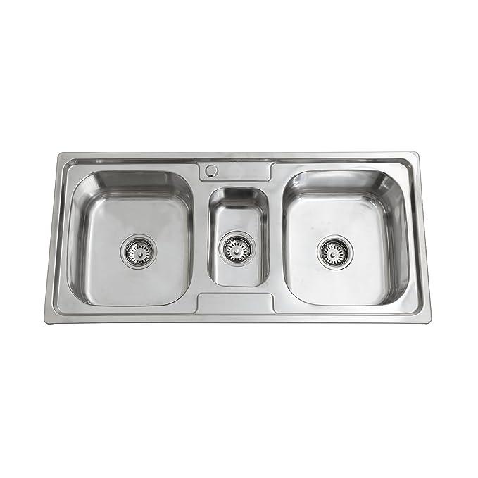 1 opinioni per ENKI Lavello a incasso 2 vasche e 1/2 squadrate gocciolatoio acciaio inox
