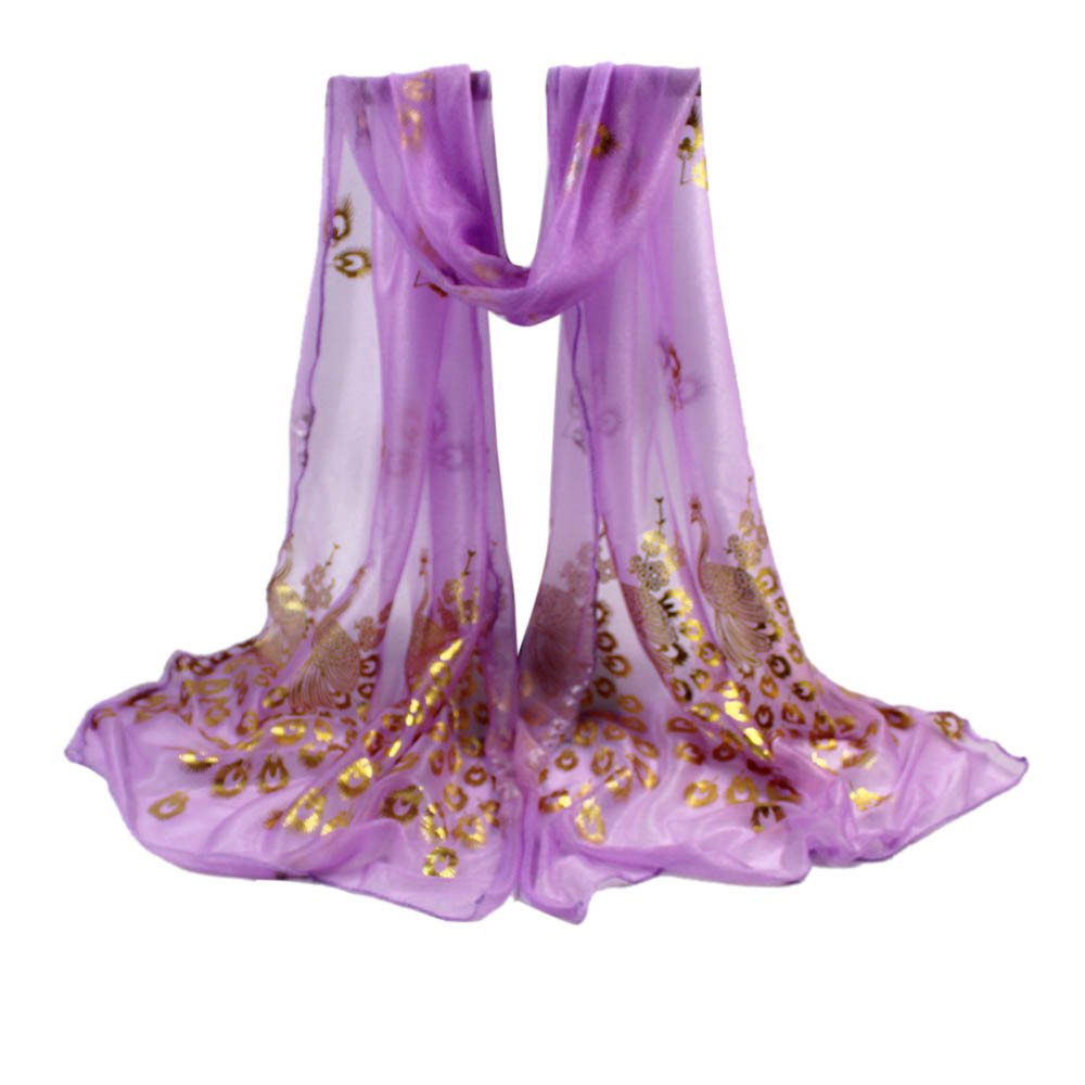 Clearance Women Scarf FEDULK Gorgeous Sparkling Soft Pattern Print Shawl Long Neckerchief(Purple ,One Size)