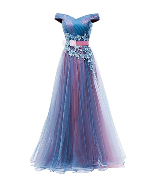 687f608c6f8c Drasawee Women s Off Shoulder Tulle Lace Prom Wedding Party Dress Gradient  Maxi Formal Evening Gowns UK4