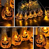 Kwock Solar String Lights for Halloween Decorations Indoor and Outdoll, Two Modes 4.8m 20 Lights 3D Waterproof Lanterns for Outdoor, Cosplay, Theme Parties and Home Decoration (Pumpkin String Light)