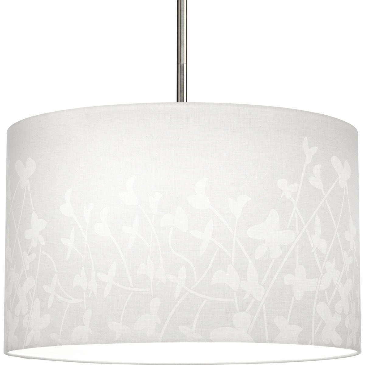 Progress Lighting P8766-01 Modular Pendant System Choose Shade and 1-Light Stem (P5198) Or 3-Light Stem (P5199) To Make Complete Fixture 16-Inch Floral Fabric Shade, Floral Fabric