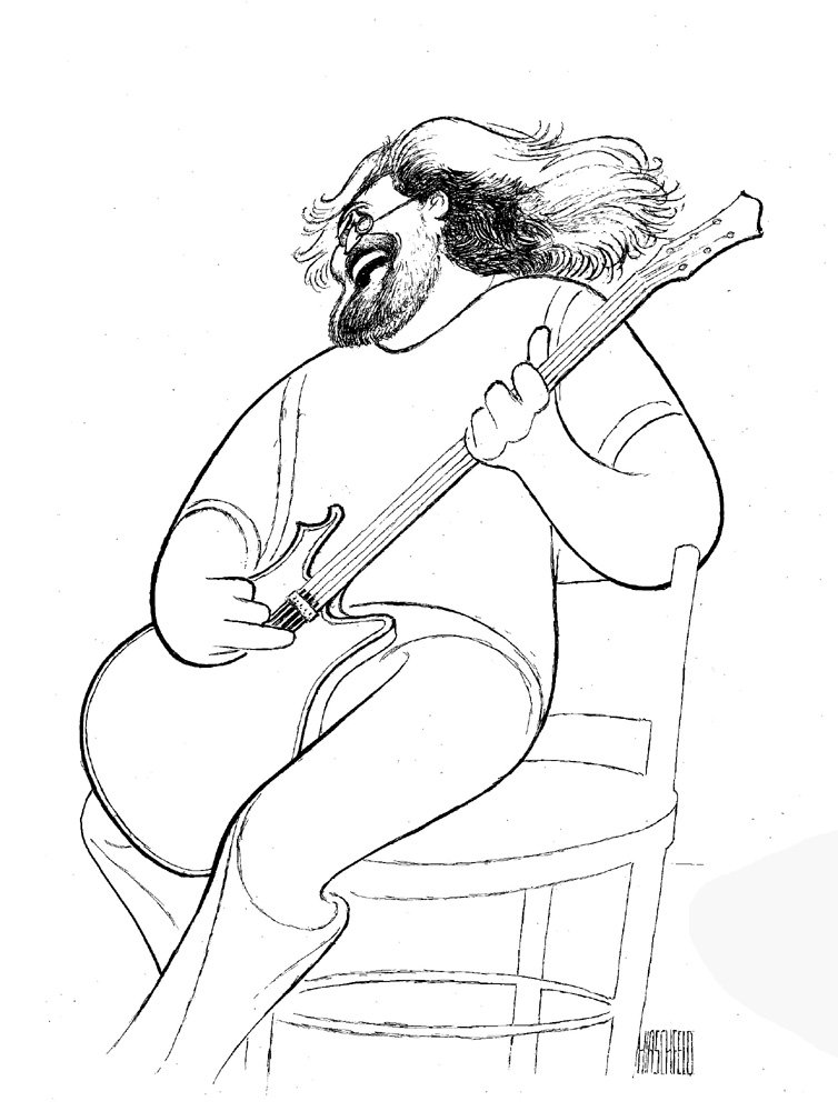 AL HIRSCHFELD Hand Signed, JERRY GARCIA of THE GRATEFUL DEAD, Limited-Edition Lithograph, Full-Length Portrait THE MARGO FEIDEN GALLERIES LTD. New York