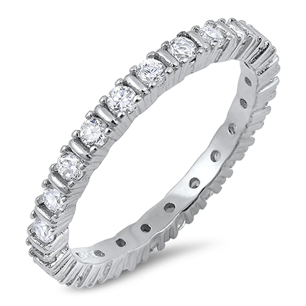 Eternity Stackable White CZ Wedding Ring .925 Sterling Silver Band Size 7