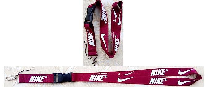 Nike Lanyard Llavero Soporte Marrón Rojo con Blanco: Amazon ...