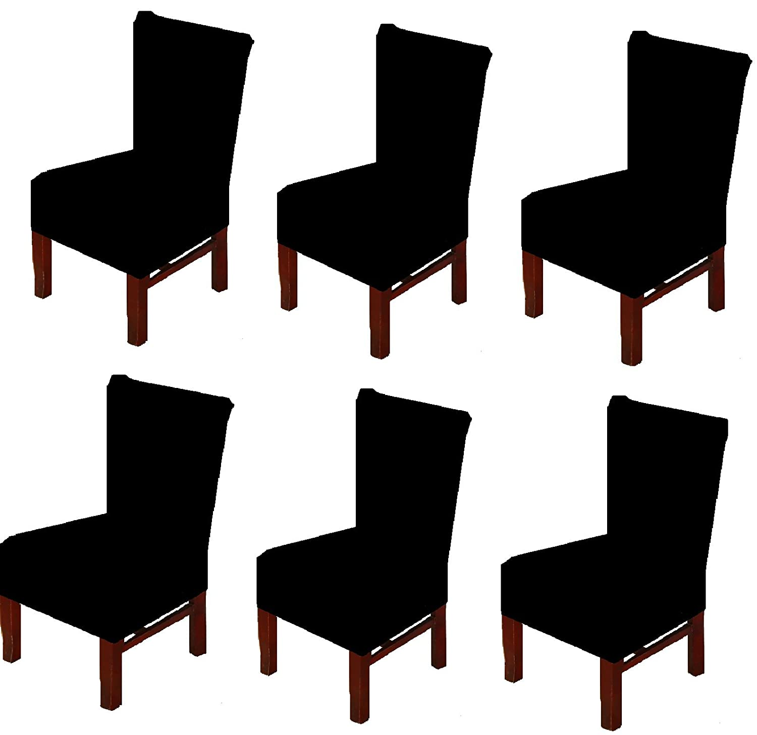 (Set of 6, Black) - 6 X Dinning Room Chair Seat Covers Spandex/Fabric, Moonter Stretch Removable Washable Banquet Slipcover Protector Folding Decoration For Wedding, Party,Ceremony ,Hotel (Set of 6, Black) Set of 6 ブラック B071H71V1J