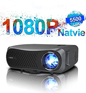 Native 1080p Projector Full HD, 5500 Lumen LED LCD Projector with HDMI USB for Indoor Outdoor Movie Night DVD Player TV Box Laptop Tablet Game Console PC Support Zoom Keystone Correction