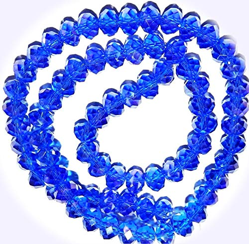New Dark Sapphire Blue AB 6mm Rondelle Faceted Cut Crystal Glass Jewelry-Making Beads 16-inch DIY Craft Supplies for Handmade Bracelet Necklace